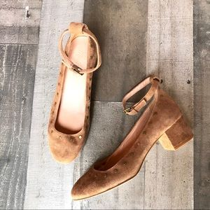 Madewell Inez Suede Cognac Brown Studded Shoes
